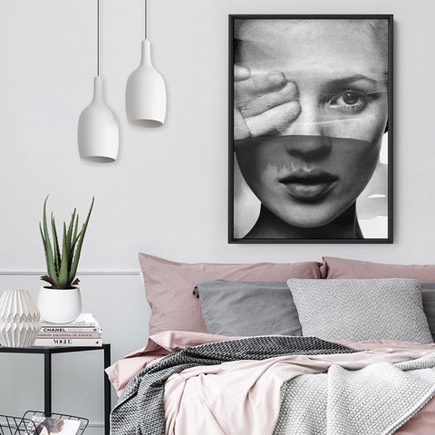 Kate with Veil Black and White - Art Print, Stretched Canvas, or Framed Canvas Wall Art
