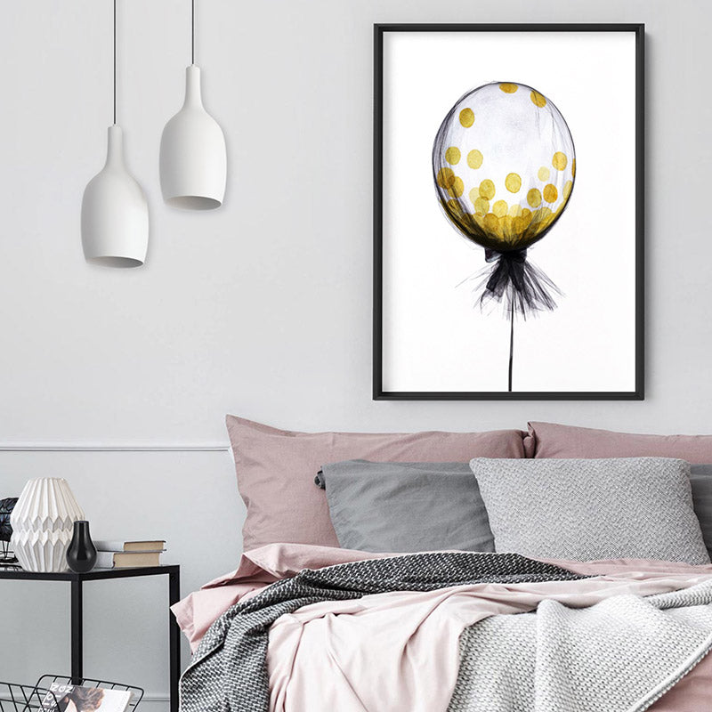 Mesh Designer Balloon with Confetti inside - Art Print, Stretched Canvas, or Framed Canvas Wall Art