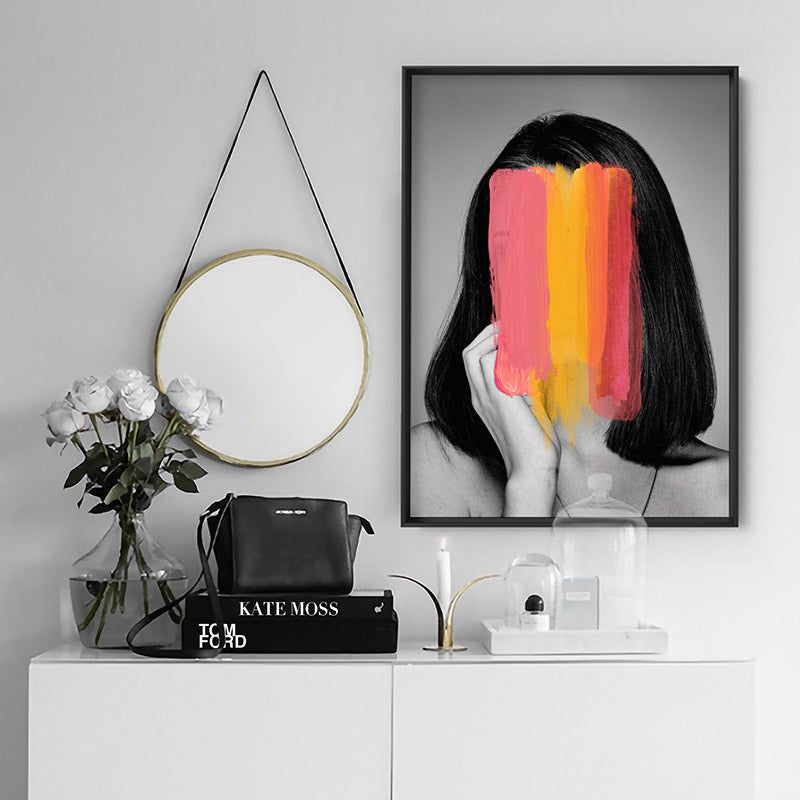 Washing over her - Art Print, Stretched Canvas or Framed Canvas Wall Art, Shown inside a frame