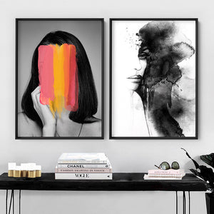 Washing over her - Art Print, Stretched Canvas or Framed Canvas Wall Art, Shown framed in a room mockup