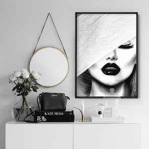 Black & White Glam Portrait - Art Print, Stretched Canvas or Framed Canvas Wall Art, Shown inside a frame