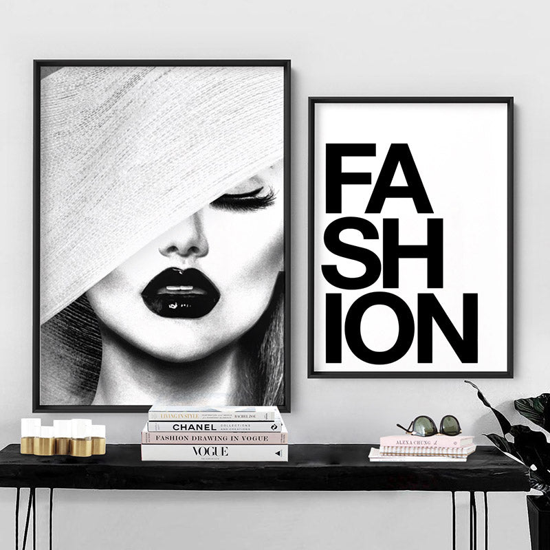 Black & White Glam Portrait - Art Print, Stretched Canvas or Framed Canvas Wall Art, Shown framed in a room mockup