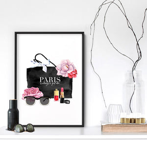 Shopping in Paris I - Art Print, Stretched Canvas or Framed Canvas Wall Art, Shown inside a frame
