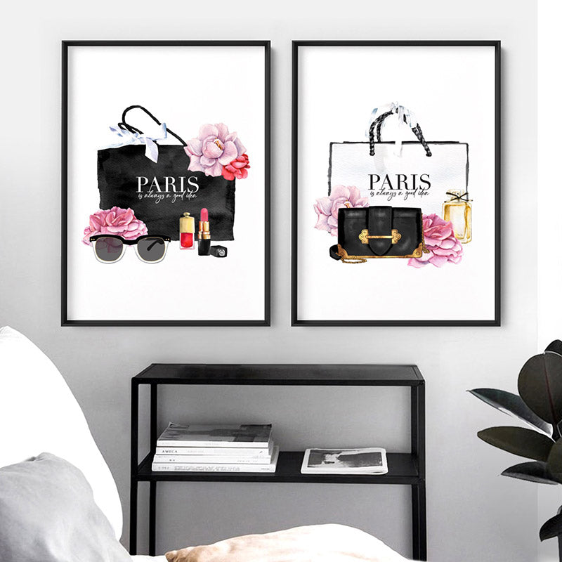 Shopping in Paris I - Art Print, Stretched Canvas or Framed Canvas Wall Art, Shown framed in a room mockup