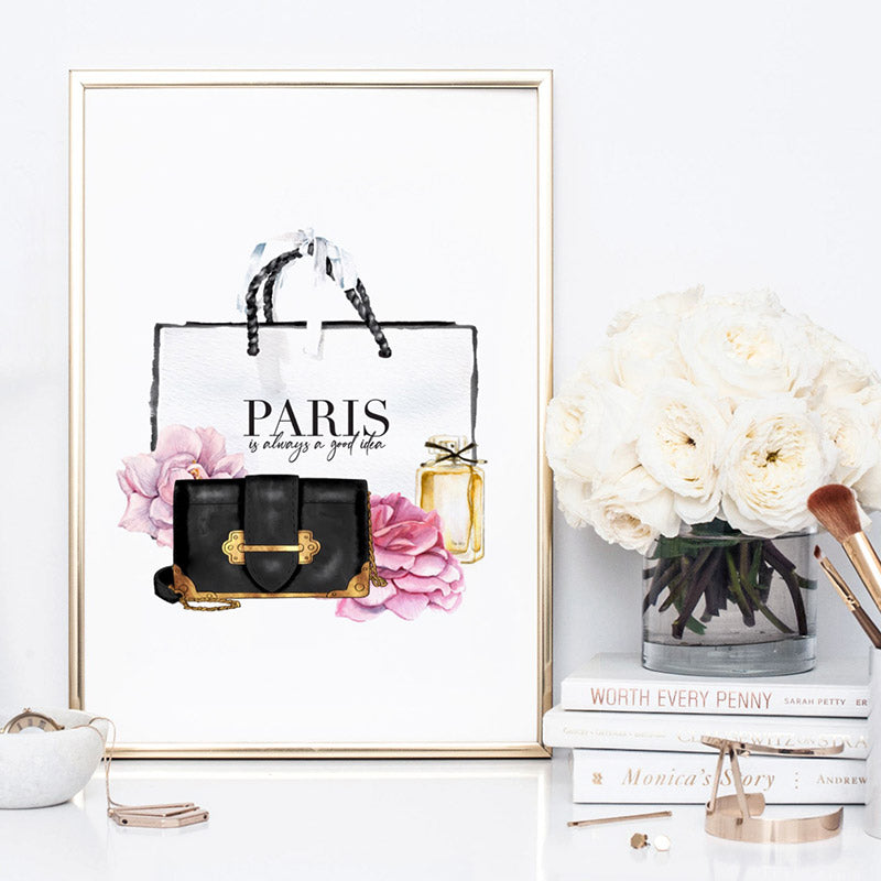 Shopping in Paris II - Art Print, Stretched Canvas, or Framed Canvas Wall Art