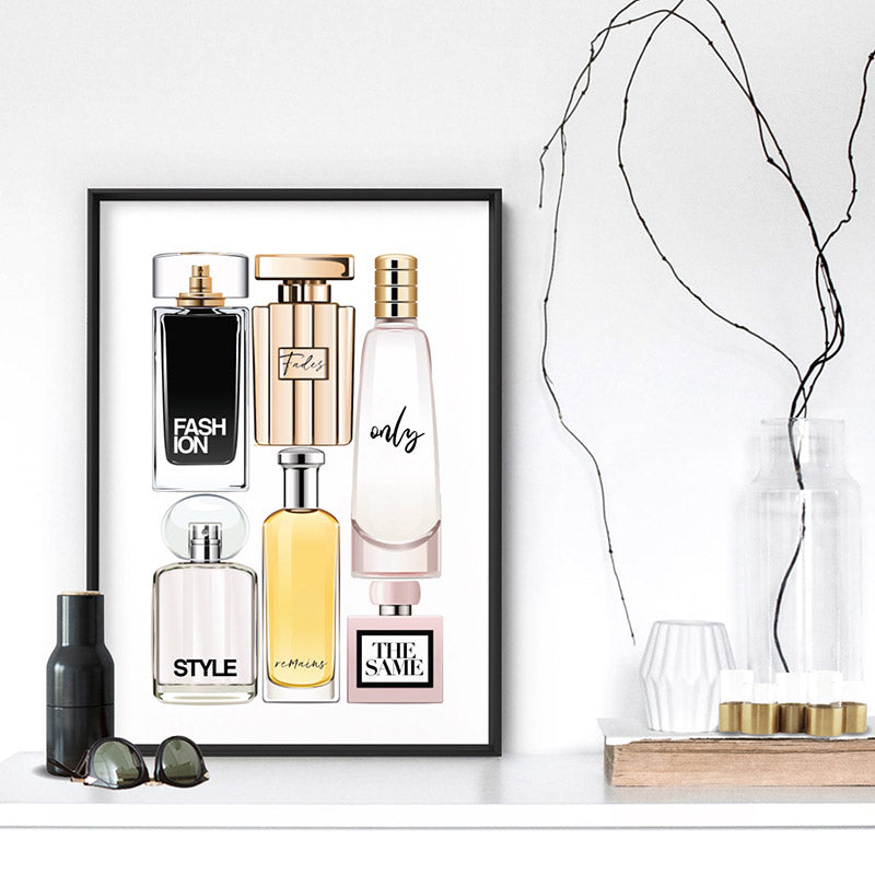 Perfume Bottles | Fashion Fades Quote Portrait - Art Print, Stretched Canvas or Framed Canvas Wall Art, Shown inside a frame