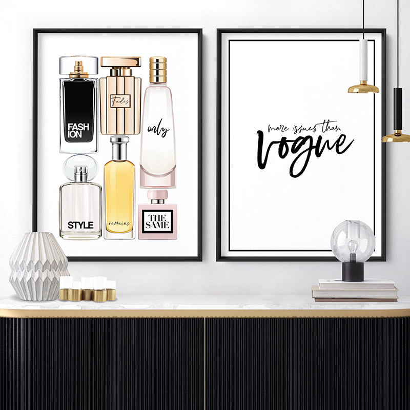 Perfume Bottles | Fashion Fades Quote Portrait - Art Print, Stretched Canvas or Framed Canvas Wall Art, Shown framed in a room mockup