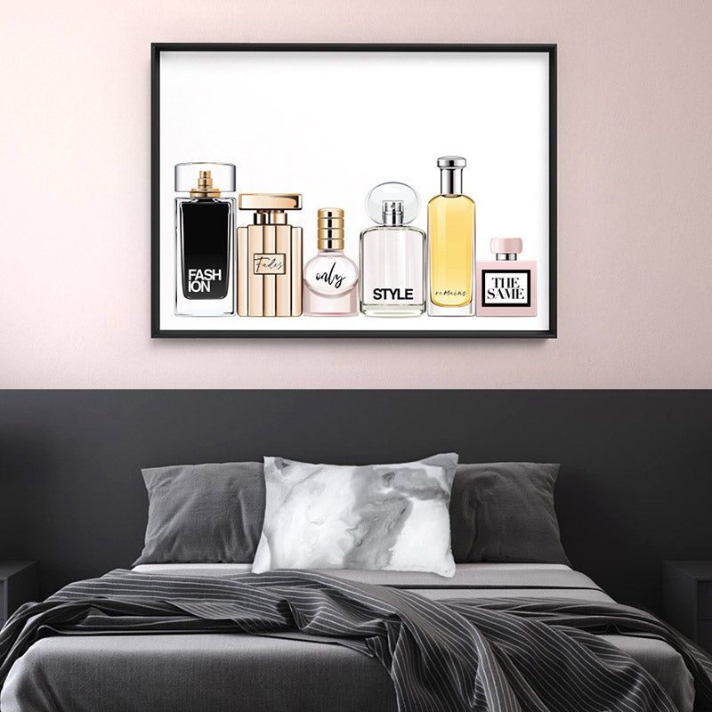 Perfume Bottles | Fashion Fades Quote Landscape - Art Print, Stretched Canvas or Framed Canvas Wall Art, Shown inside a frame