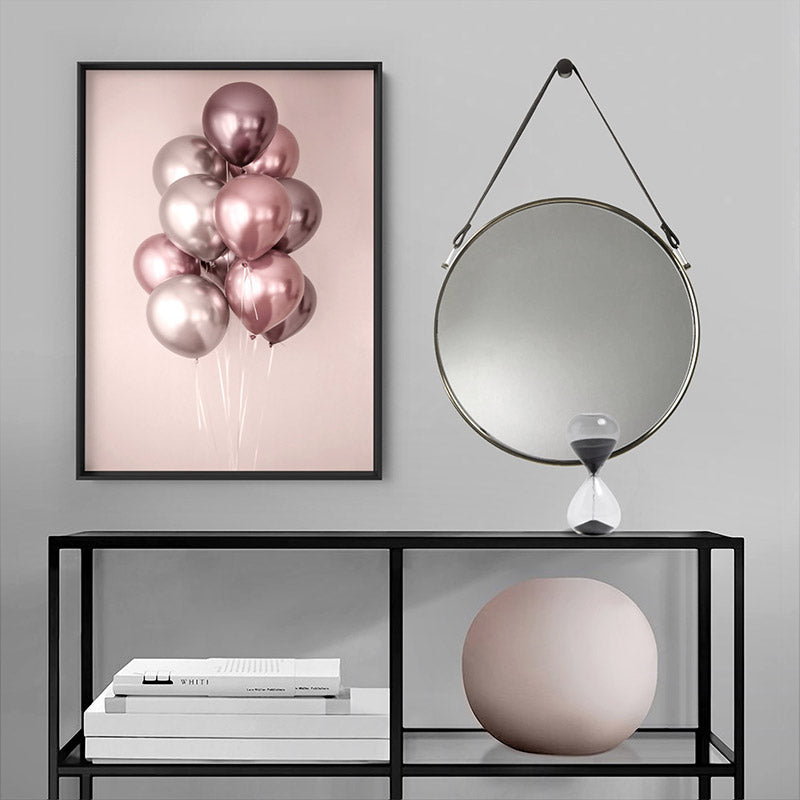 Rose Blush Balloons Bunch - Art Print, Stretched Canvas or Framed Canvas Wall Art, Shown inside a frame