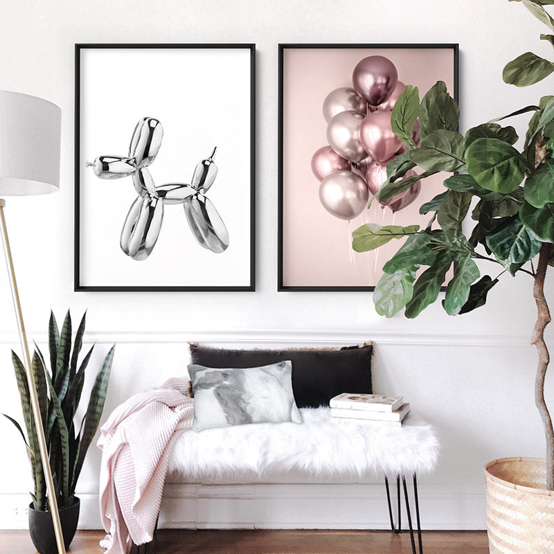 Rose Blush Balloons Bunch - Art Print, Stretched Canvas or Framed Canvas Wall Art, Shown framed in a room mockup