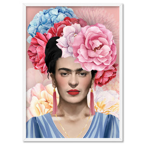 Frida Floral Blooms in Watercolour - Art Print, Stretched Canvas, or Framed Canvas Wall Art