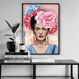 Frida Floral Blooms in Watercolour - Art Print, Stretched Canvas or Framed Canvas Wall Art, Shown inside a frame