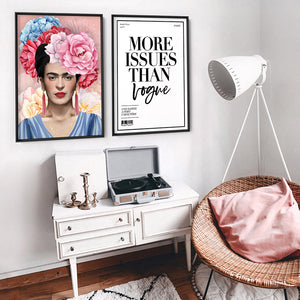 Frida Floral Blooms in Watercolour - Art Print, Stretched Canvas or Framed Canvas Wall Art, Shown framed in a room mockup