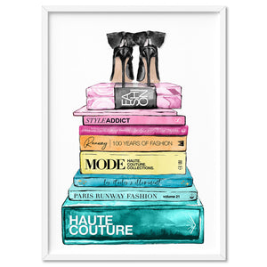 Fashion Book Stack in Rainbow Hues - Art Print, Stretched Canvas, or Framed Canvas Wall Art