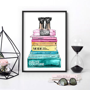 Fashion Book Stack in Rainbow Hues - Art Print, Stretched Canvas or Framed Canvas Wall Art, Shown inside a frame