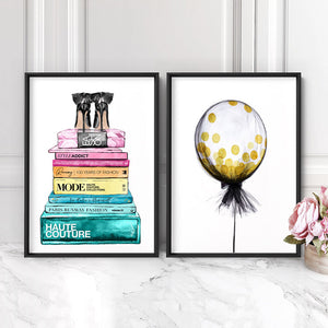 Fashion Book Stack in Rainbow Hues - Art Print, Stretched Canvas or Framed Canvas Wall Art, Shown framed in a room mockup