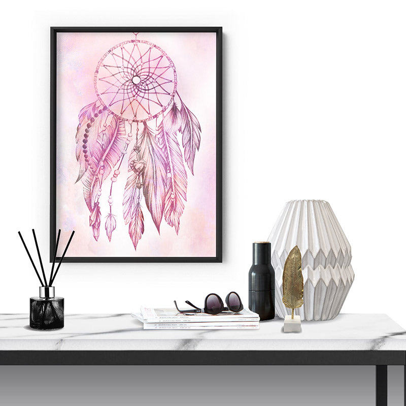 Dreamcatcher in Pink - Art Print, Stretched Canvas or Framed Canvas Wall Art, Shown inside a frame