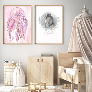Dreamcatcher in Pink - Art Print, Stretched Canvas or Framed Canvas Wall Art, Shown framed in a room mockup