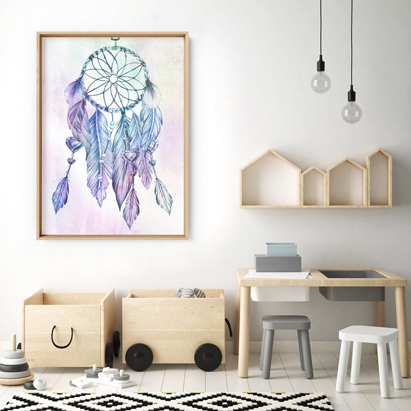 Dreamcatcher in Rainbow - Art Print, Stretched Canvas, or Framed Canvas Wall Art
