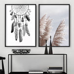 Dreamcatcher in Black and White - Art Print, Stretched Canvas, or Framed Canvas Wall Art
