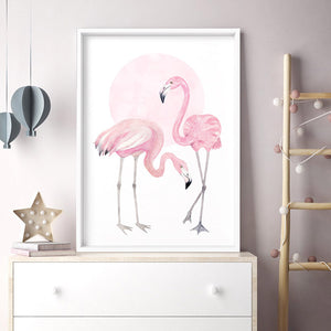 Flamingo Duo in Watercolours - Art Print, Stretched Canvas or Framed Canvas Wall Art, Shown inside a frame