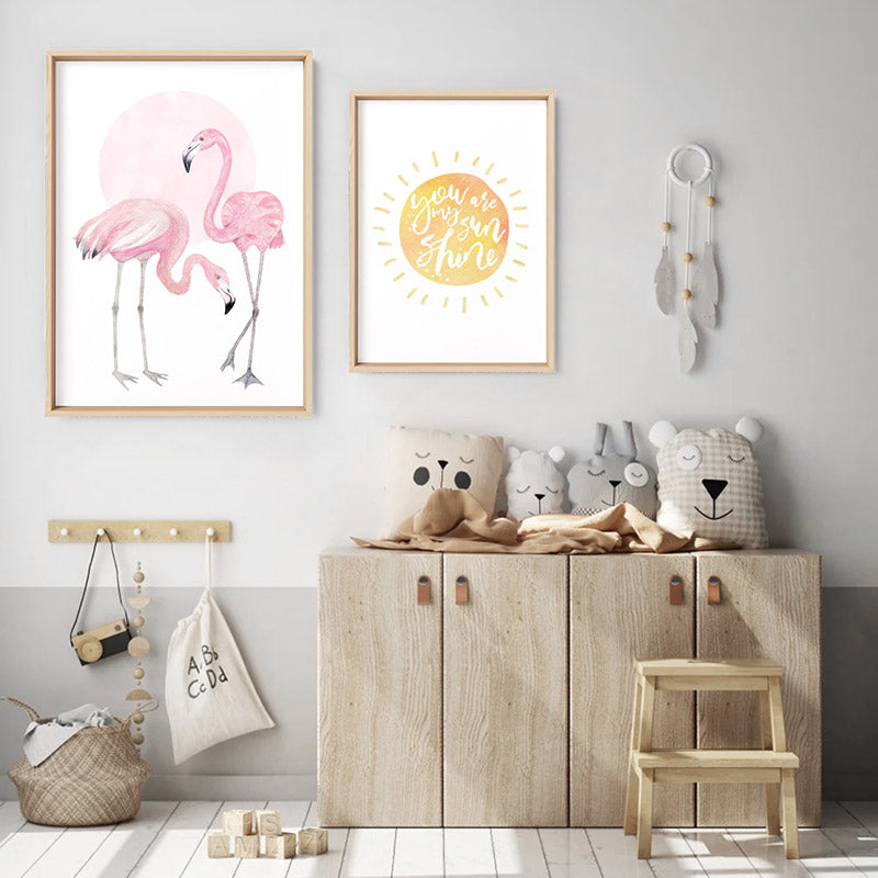 Flamingo Duo in Watercolours - Art Print, Stretched Canvas or Framed Canvas Wall Art, Shown framed in a room mockup