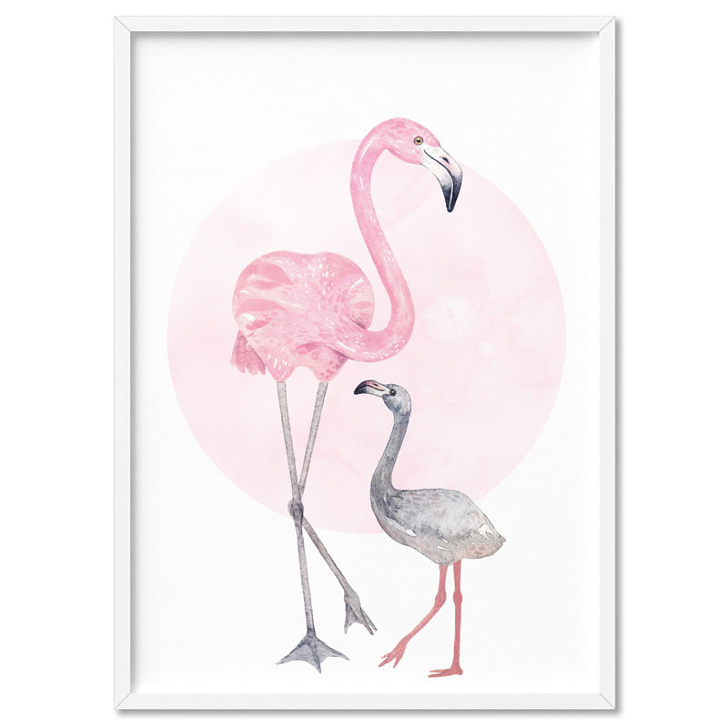 Flamingo Mother & Baby in Watercolours - Art Print