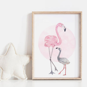 Flamingo Mother & Baby in Watercolours - Art Print, Stretched Canvas or Framed Canvas Wall Art, Shown inside a frame