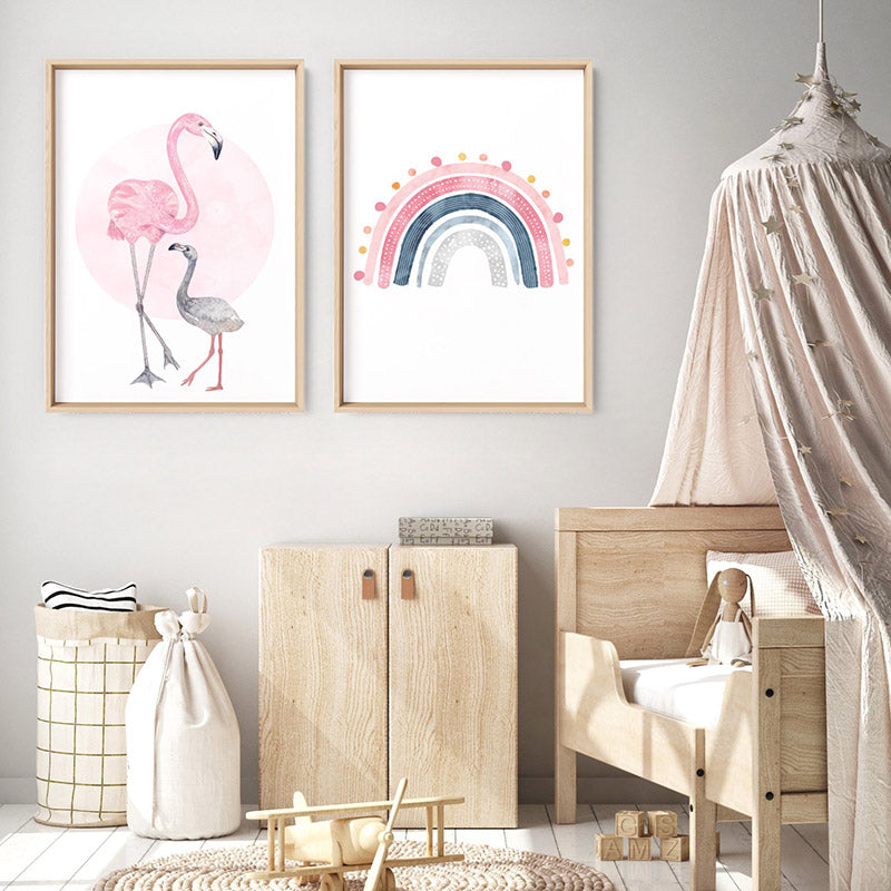 Flamingo Mother & Baby in Watercolours - Art Print, Stretched Canvas or Framed Canvas Wall Art, Shown framed in a room mockup