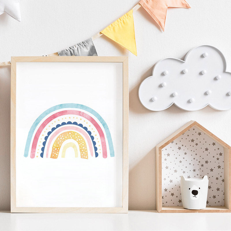 Pastel Bohemian Rainbow II - Art Print, Stretched Canvas or Framed Canvas Wall Art, Shown inside a frame