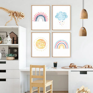 Pastel Bohemian Rainbow II - Art Print, Stretched Canvas or Framed Canvas Wall Art, Shown framed in a room mockup