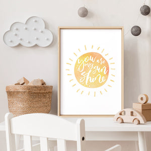 Pastel Bohemian Sun | You are my Sunshine - Art Print, Stretched Canvas or Framed Canvas Wall Art, Shown inside a frame