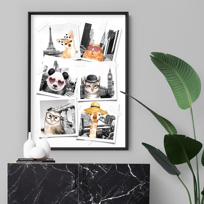 Animal Vacay Selfies Collage - Art Print, Stretched Canvas or Framed Canvas Wall Art, Shown inside a frame