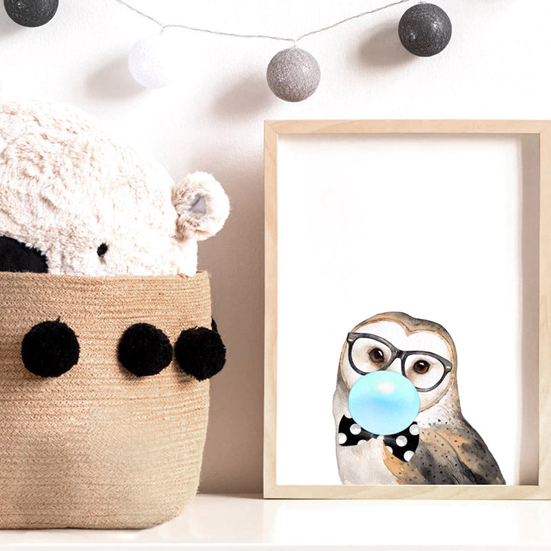Bubblegum Wise Owl | Blue Bubble - Art Print, Stretched Canvas or Framed Canvas Wall Art, Shown inside a frame