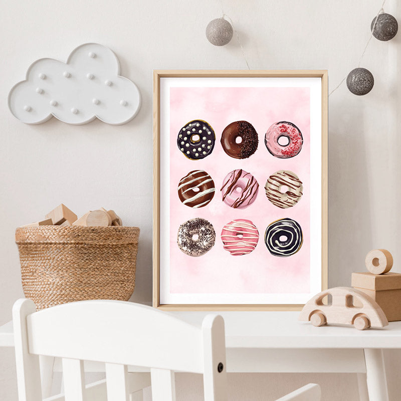 Yum Yum Donuts - Art Print, Stretched Canvas or Framed Canvas Wall Art, Shown inside a frame
