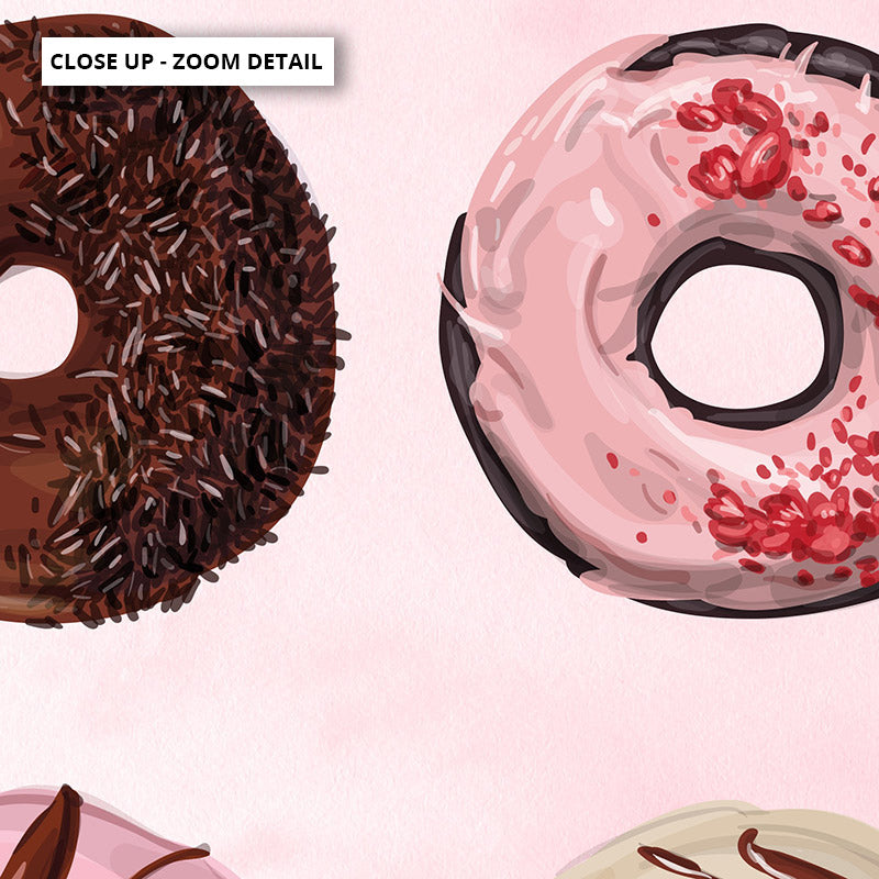 Yum Yum Donuts - Art Print, Stretched Canvas or Framed Canvas Wall Art, Close up View of Print Resolution