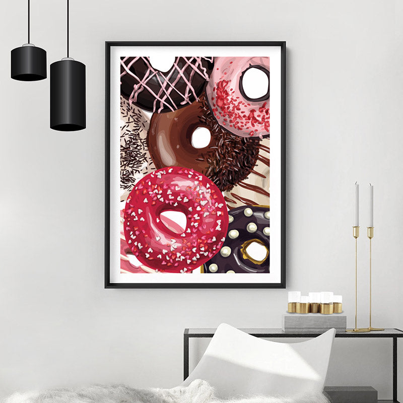 Yum Yum Donuts | Close Up - Art Print, Stretched Canvas or Framed Canvas Wall Art, Shown inside a frame