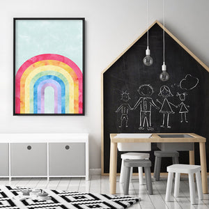 Load image into Gallery viewer, Watercolour Rainbow Teal - Art Print, Stretched Canvas or Framed Canvas Wall Art, Shown inside a frame