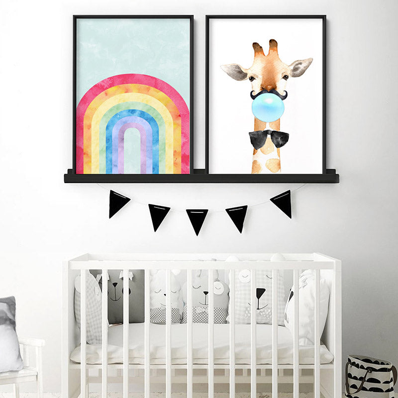 Watercolour Rainbow Teal - Art Print, Stretched Canvas or Framed Canvas Wall Art, Shown framed in a room mockup