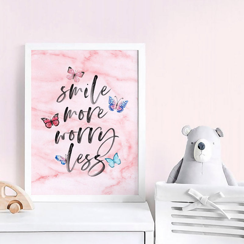Smile More, Worry Less | Butterflies & Pink Marble - Art Print, Stretched Canvas or Framed Canvas Wall Art, Shown inside a frame