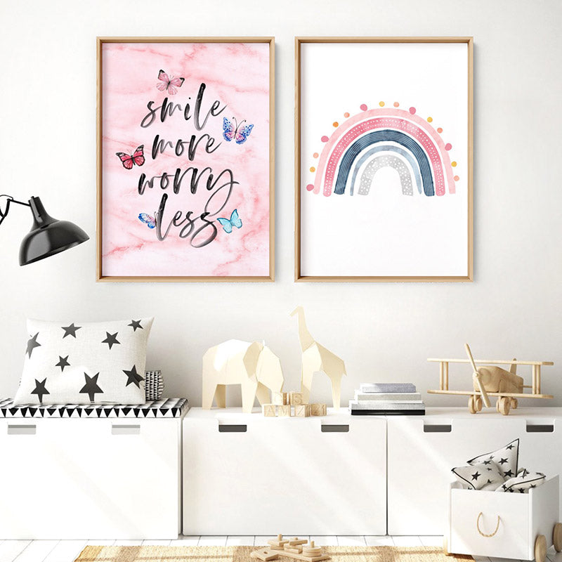 Smile More, Worry Less | Butterflies & Pink Marble - Art Print, Stretched Canvas or Framed Canvas Wall Art, Shown framed in a room mockup