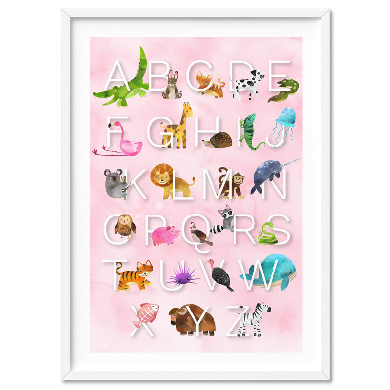 Animal Alphabet in Watercolours | Pink - Art Print, Stretched Canvas, or Framed Canvas Wall Art