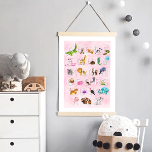 Animal Alphabet in Watercolours | Pink - Art Print, Stretched Canvas or Framed Canvas Wall Art, Shown inside a frame