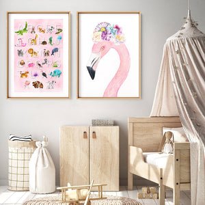 Animal Alphabet in Watercolours | Pink - Art Print, Stretched Canvas or Framed Canvas Wall Art, Shown framed in a room mockup