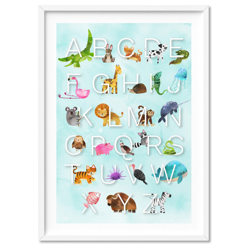 Animal Alphabet in Watercolours | Teal - Art Print