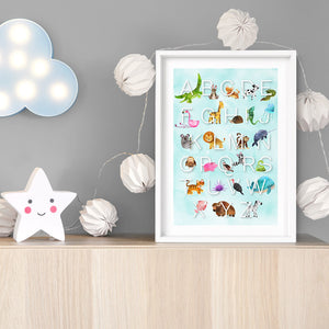 Animal Alphabet in Watercolours | Teal - Art Print, Stretched Canvas or Framed Canvas Wall Art, Shown inside a frame