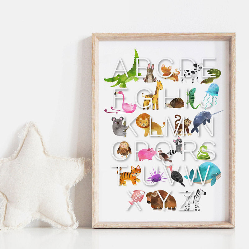 Animal Alphabet in Watercolours | White - Art Print, Stretched Canvas or Framed Canvas Wall Art, Shown inside a frame