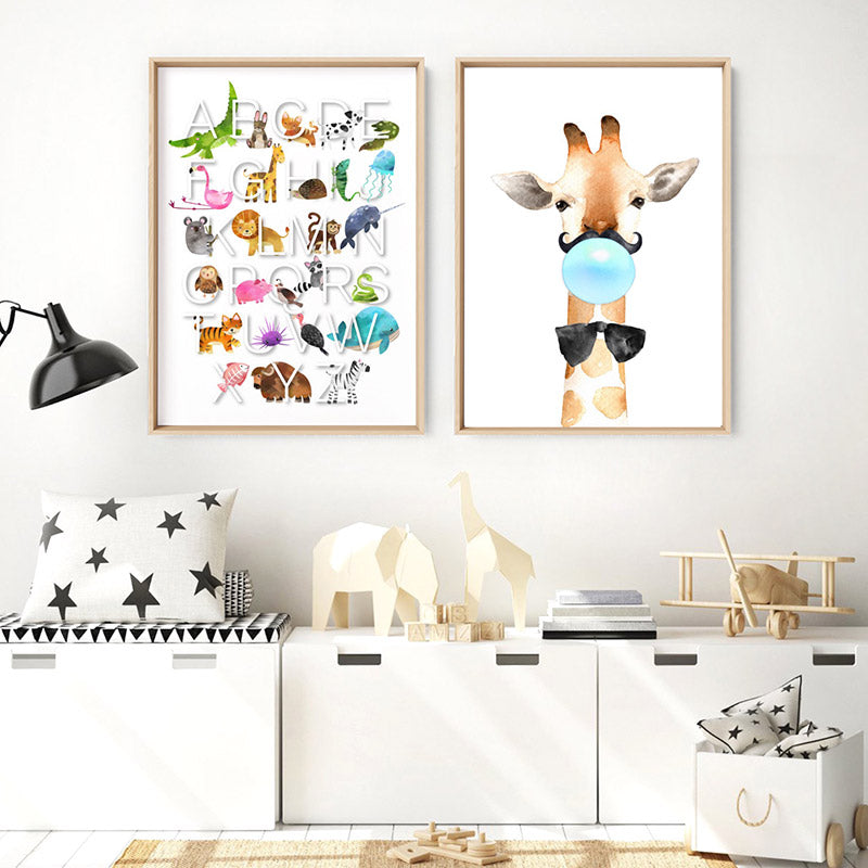 Load image into Gallery viewer, Animal Alphabet in Watercolours | White - Art Print, Stretched Canvas or Framed Canvas Wall Art, Shown framed in a room mockup