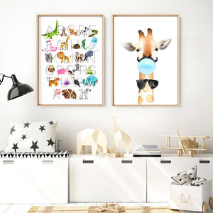Animal Alphabet in Watercolours | White - Art Print, Stretched Canvas or Framed Canvas Wall Art, Shown framed in a room mockup