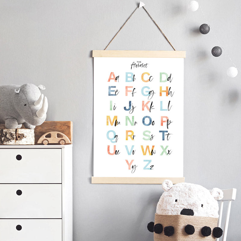 The Alphabet | Kids Upper & Lowercase Characters - Art Print, Stretched Canvas or Framed Canvas Wall Art, Shown inside a frame